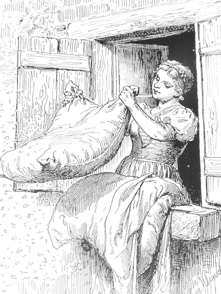 Bettenmachen bei Frau Holle