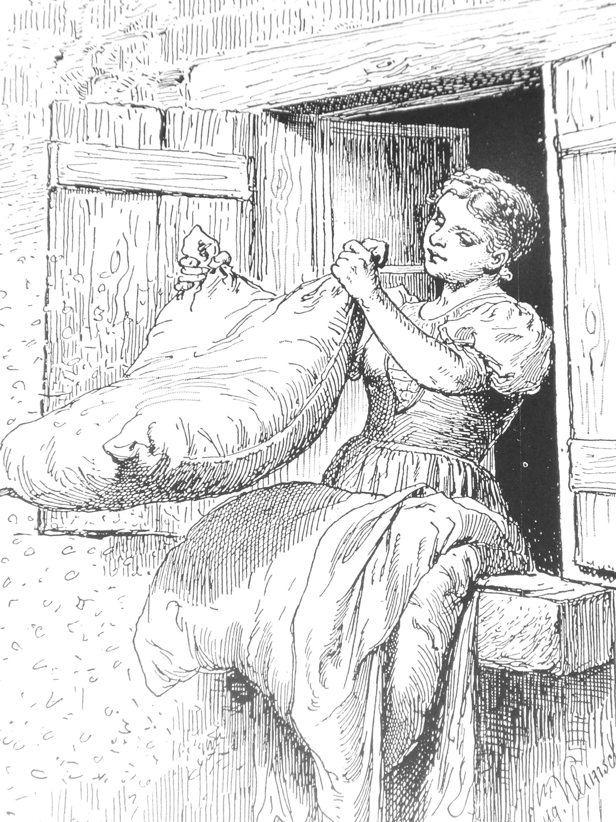 Betten machen bei Frau Holle